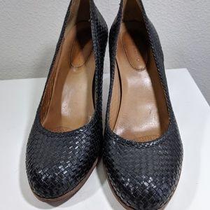 CORSO COMO Women's Black Woven Leather Heels 10